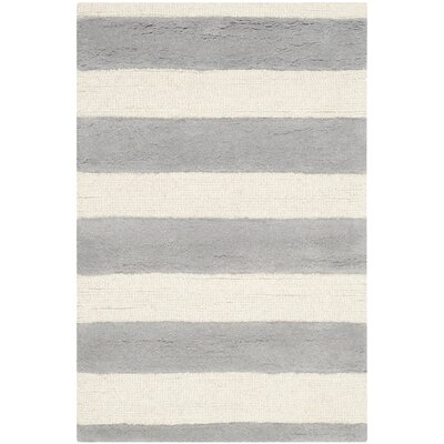 Leighton Hand-Tufted Grey/Ivory Area Rug Rug Size: 4 x 6