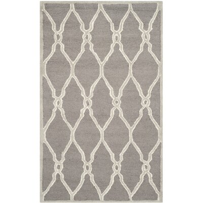 Martins Hand-Tufted Dark Gray/Ivory Area Rug Rug Size: Rectangle 3 x 5