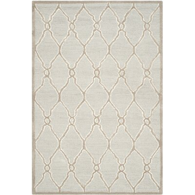 Martins Hand-Tufted Wool Light Gray/Ivory Area Rug Rug Size: Rectangle 4 x 6