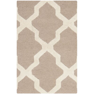 Kirschbaum Hand-Woven Wool Dark Beige/Ivory Area Rug Rug Size: Rectangle 4 x 6, Finish: Beige