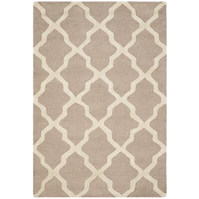 Kirschbaum Hand-Woven Wool Dark Beige/Ivory Area Rug Rug Size: Rectangle 12 x 18, Finish: Beige