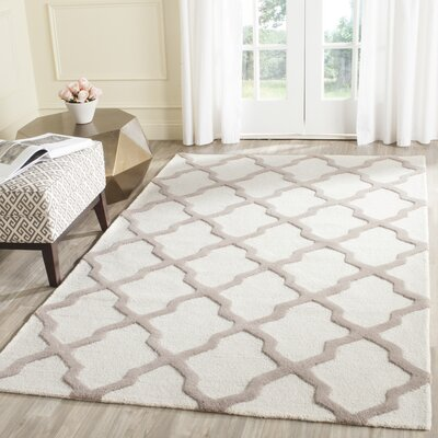 Charlenne Hand-Tufted Wool Ivory/Beige Area Rug Rug Size: Rectangle 10 x 14