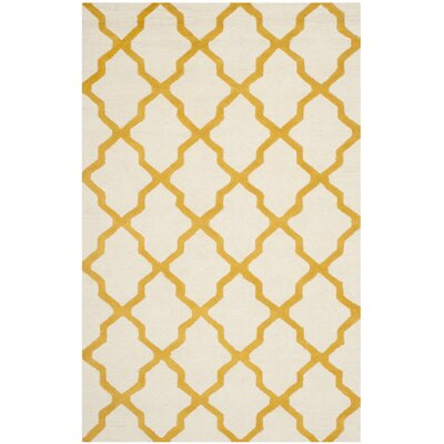 Charlenne Hand-Tufted Ivory/Gold Area Rug Rug Size: Rectangle 5 x 8