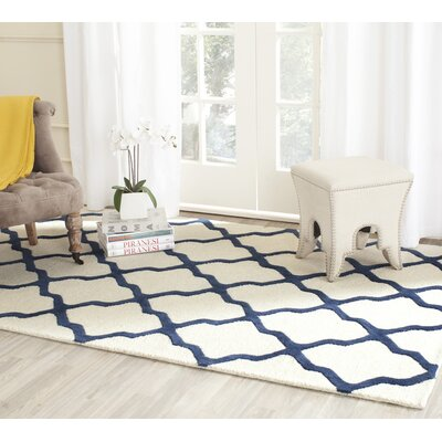 Charlenne Hand-Tufted Ivory Area Rug Rug Size: Rectangle 5 x 8