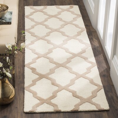Charlenne Hand-Tufted Wool Ivory/Beige Area Rug Rug Size: Runner 26 x 22
