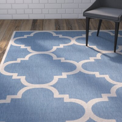 Short Lattice Blue/Beige Indoor/Outdoor Area Rug Rug Size: Rectangle 27 x 5