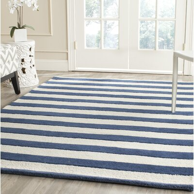 Leighton Hand-Tufted Navy/Ivory Area Rug Rug Size: Rectangle 8 x 10