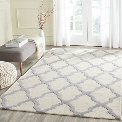 Charlenne Hand-Tufted Ivory Area Rug Rug Size: Rectangle 3 x 5