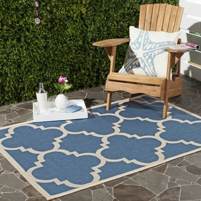Short Lattice Blue/Beige Indoor/Outdoor Area Rug Rug Size: Rectangle 53 x 77