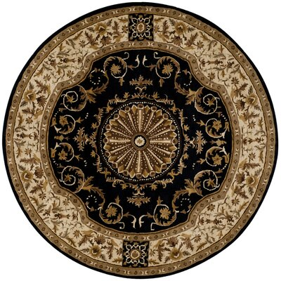 Atlasburg Hand-Tufted Wool Black Area Rug Size: Round 8