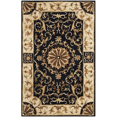 Atlasburg Hand-Tufted Wool Black Area Rug Size: Rectangle 26 x 4