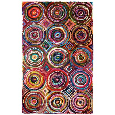 Isan Hand-Tufted Chindi Black/Orange Area Rug Rug Size: 5 x 8