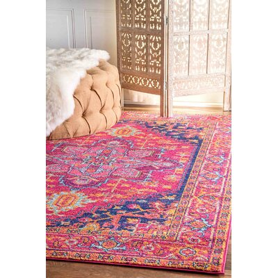 Christophe Blooming Pink/Orange Area Rug Rug Size: Rectangle 3 x 5