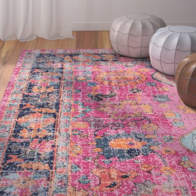Ayush Pink Area Rug Rug Size: Rectangle 8 x 10