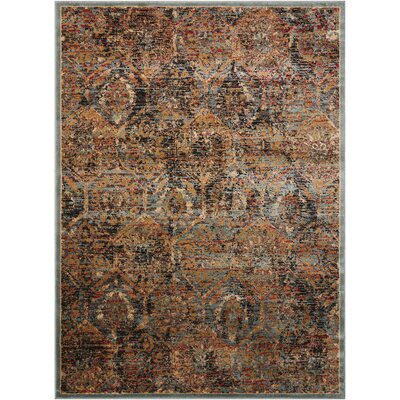 Anders Blue/Orange Area Rug Rug Size: Rectangle 3'11