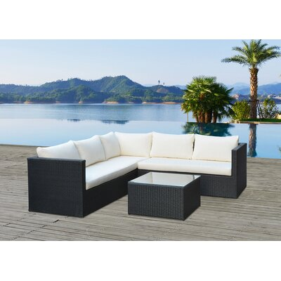 Lugo Outdoor Wicker Rattan 4 Piece Deep Seating Group