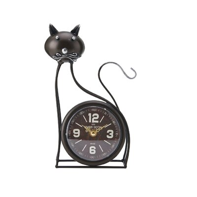 Cat Metal Tabletop Clock