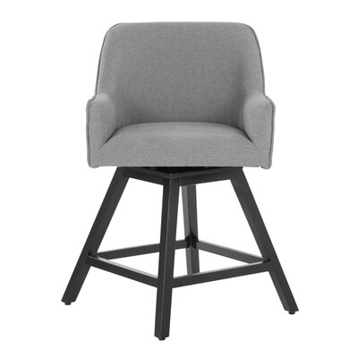 Spire Swivel Counter Height Arm Chair Upholstery: Heather