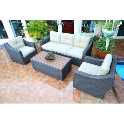 Tampa Luxury 4 Piece Deep Seating Group with Cushion