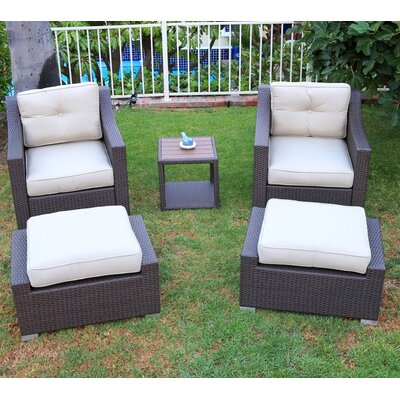 Tampa Conversation 5 Piece Deep Seating Group with Cushion