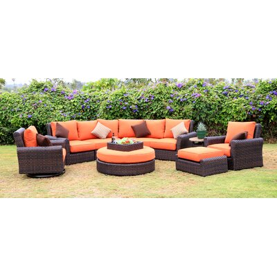 Serenity 8 Piece Deep Seating Group with Cushion Fabric: Rust