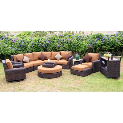 Serenity 8 Piece Deep Seating Group with Cushion Fabric: Teak