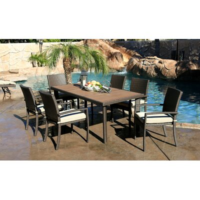 Cicero 7 Piece Arm Dining Set with Cushions