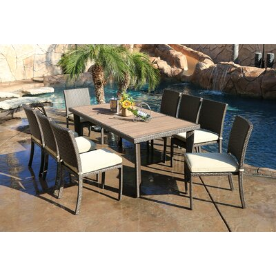 Heffington 9 Piece Dining Set with Cushion