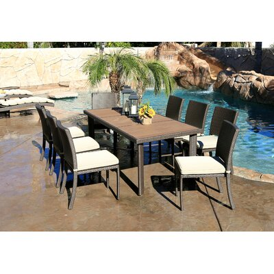 Cicero 9 Piece Armless Dining Set with Cushions