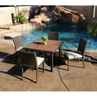 Cicero 5 Piece Armless Dining Set with Cushions