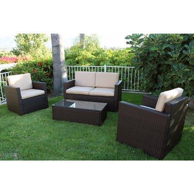 Robynn 4 Piece Rattan Sofa Set with Cushions