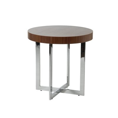 Cheap Eurostyle Oliver Side Table in Chrome / Walnut (EY1918)