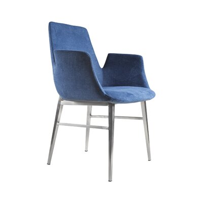 Pranav Armchair in Blue with Brushed Stainless Steel Legs