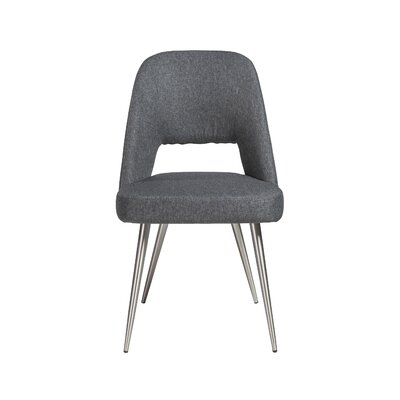 Obyrne Upholstered Dining Chair Upholstery Color: Gray, Leg Color: Brushed stainless