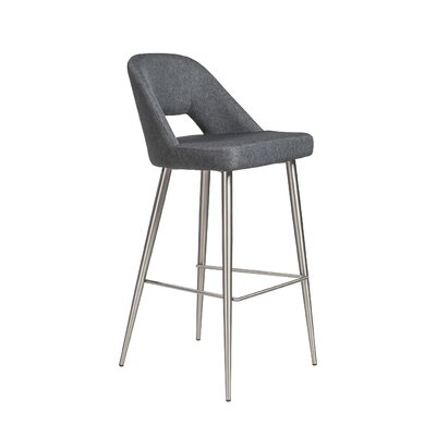 Odea 39.38 Bar Stool Leg Color: Brushed stainless