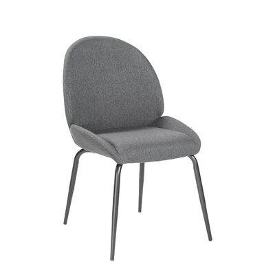 Oday Upholstered Dining Chair with Steel Leg Upholstery Color: Dark Gray