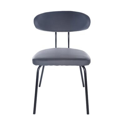 Odonnell Upholstered Dining Chair Upholstery Color: Dark Gray, Leg Color: Black
