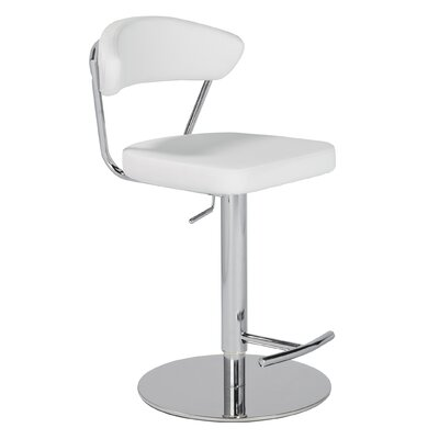 Viviana Adjustable Height Bar Stool Upholstery: White