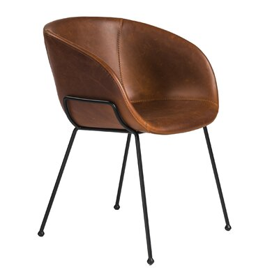Padmore Upholstered Dining Chair Upholstery: Dark Brown
