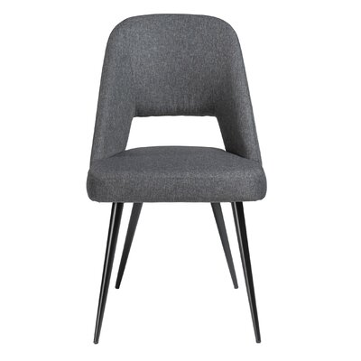 Obyrne Upholstered Dining Chair Upholstery Color: Gray, Leg Color: Black powder coated