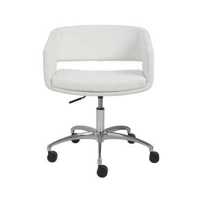Amelia Low-Back Leatherette Office Chair with Arms Color: White Product Photo 2547