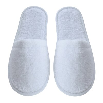 Womens Turkish Terry Cotton Cloth Bath Slippers Color: White