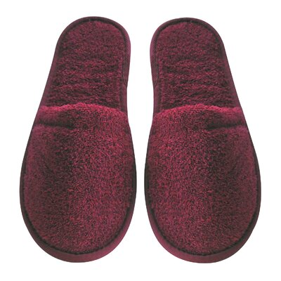 Womens Turkish Terry Cotton Cloth Bath Slippers Color: Burgundy