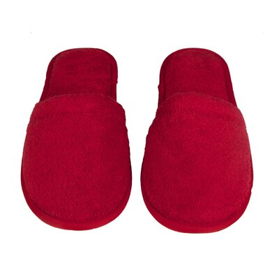Womens Turkish Terry Cotton Cloth Bath Slippers Color: Red