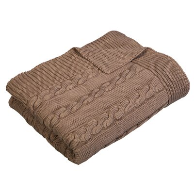Luxury Cotton Cable Knit Throw Blanket Color: Chocolate