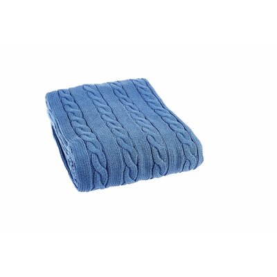 Luxury Cotton Cable Knit Throw Blanket Color: Saks Blue