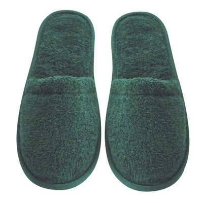 Womens Turkish Terry Cotton Cloth Bath Slippers Color: Hunter Green