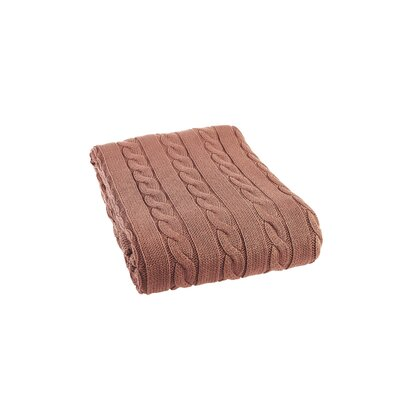 Luxury Cotton Cable Knit Throw Blanket Color: Terra Cotta