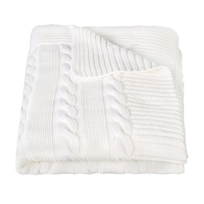 Luxury Cotton Cable Knit Throw Blanket Color: Cream