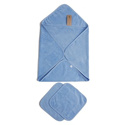 Baby Organic Turkish Cotton Terry Hooded Nursery 3 Piece Towel Set Color: Blue